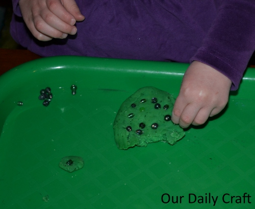 green beads playdough