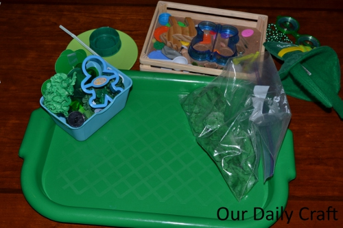 green playdough invitation